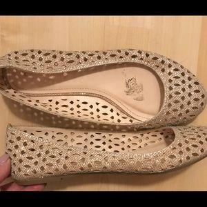 Gold sparkle shoes